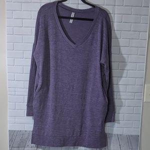 Zenana Outfitters Long Purple Soft Sweater, Sz L